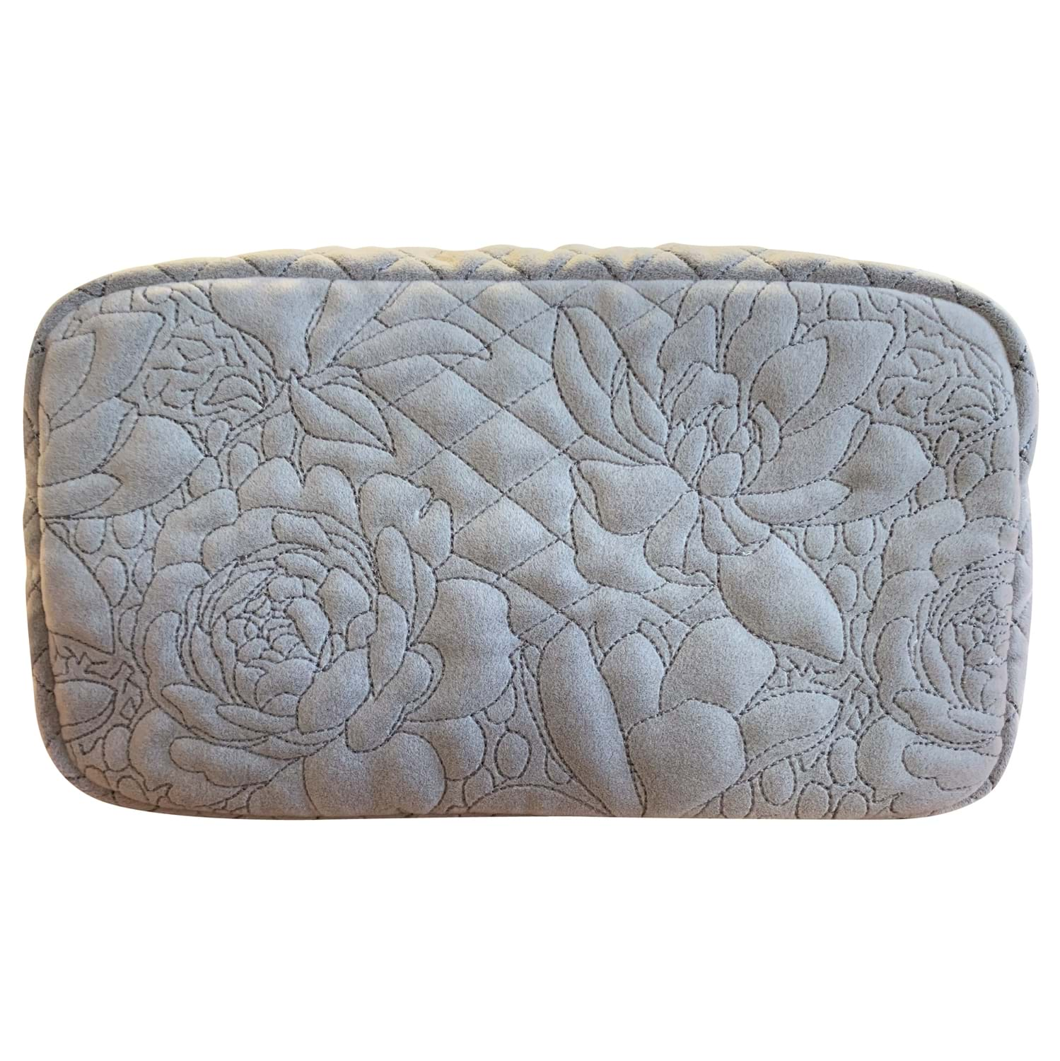 Image of Danielle Exclusive Creations Embroidery Floral Beauty Bag, Dove Grey