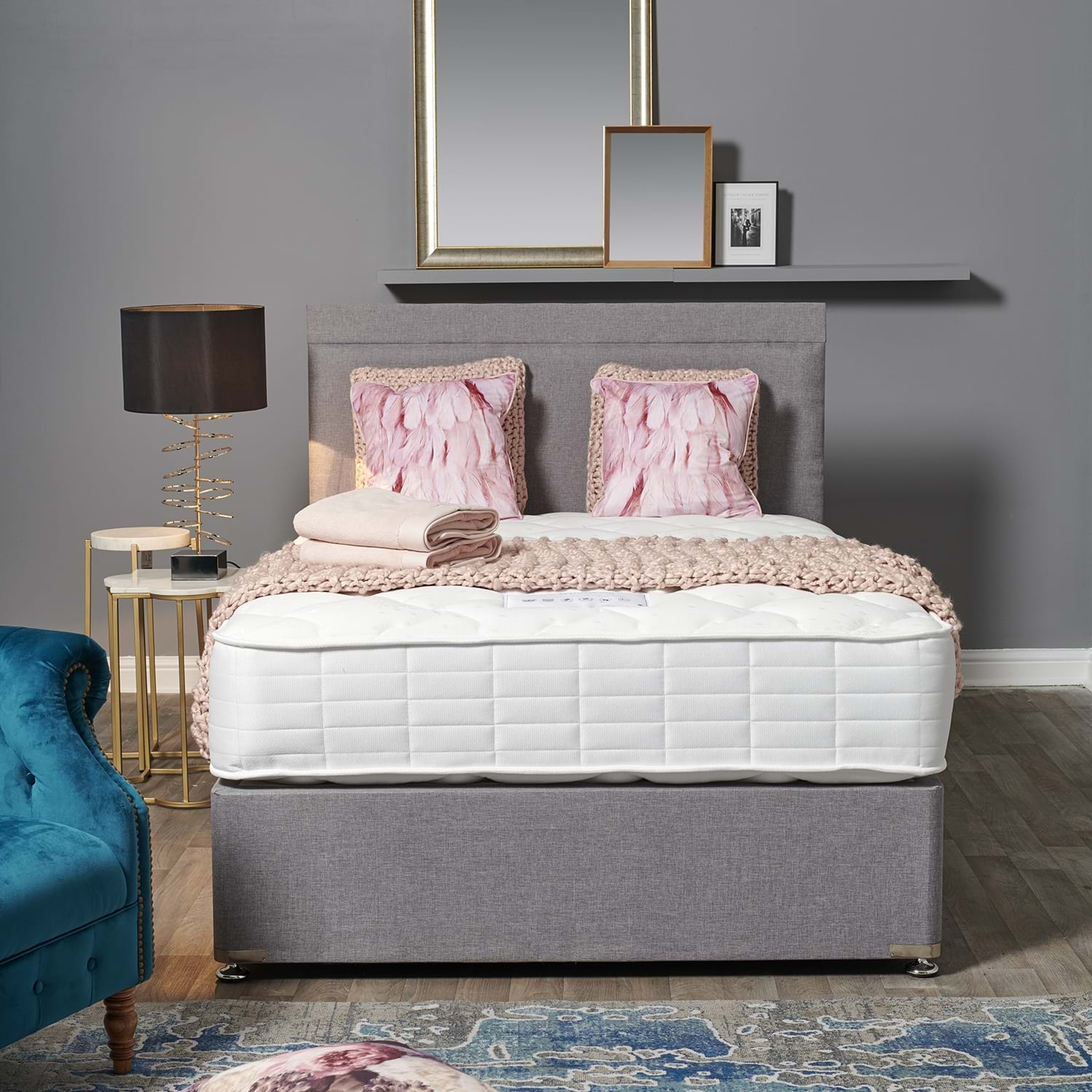 Image of Dura Beds Garbo 2 Drawer Divan Bed Set, Double, Silver