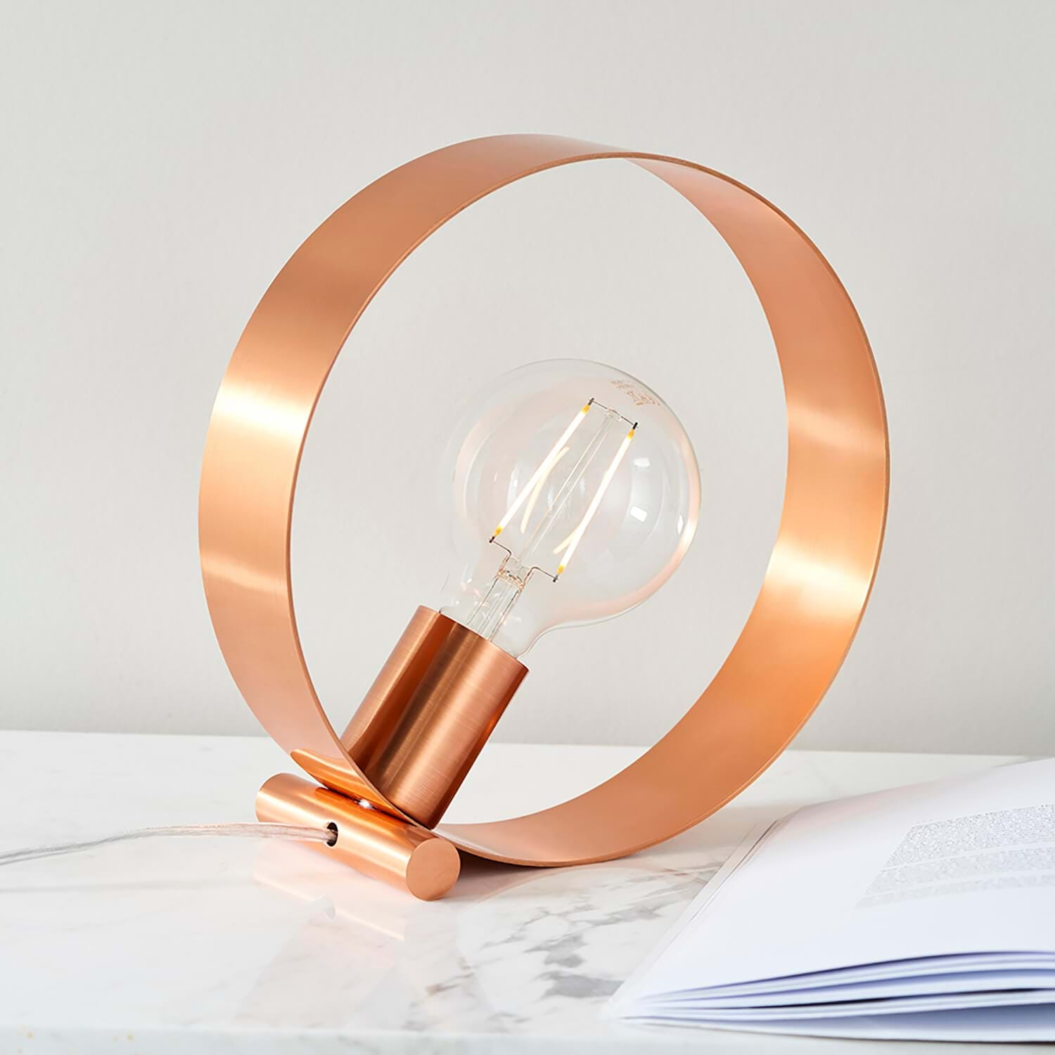 Image of Endon Circular Table Lamp, Copper
