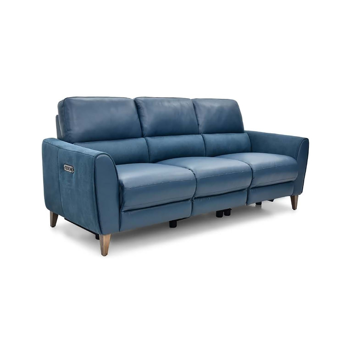 Image of Casa Archie 3 Seater Power Recliner Leather Sofa, Altara Denim