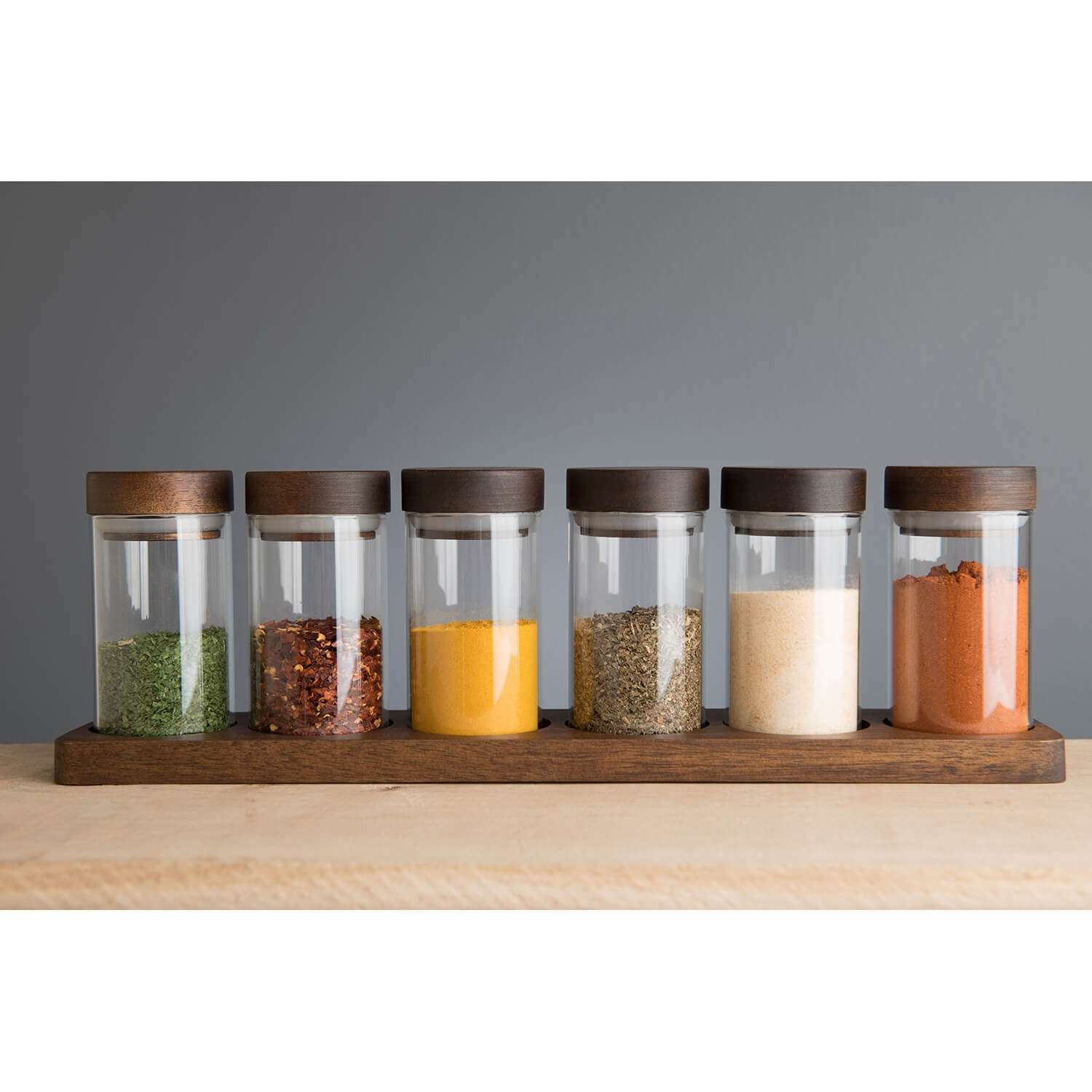 Image of Artisan Street, 6 Spice Jars With Board, Clear