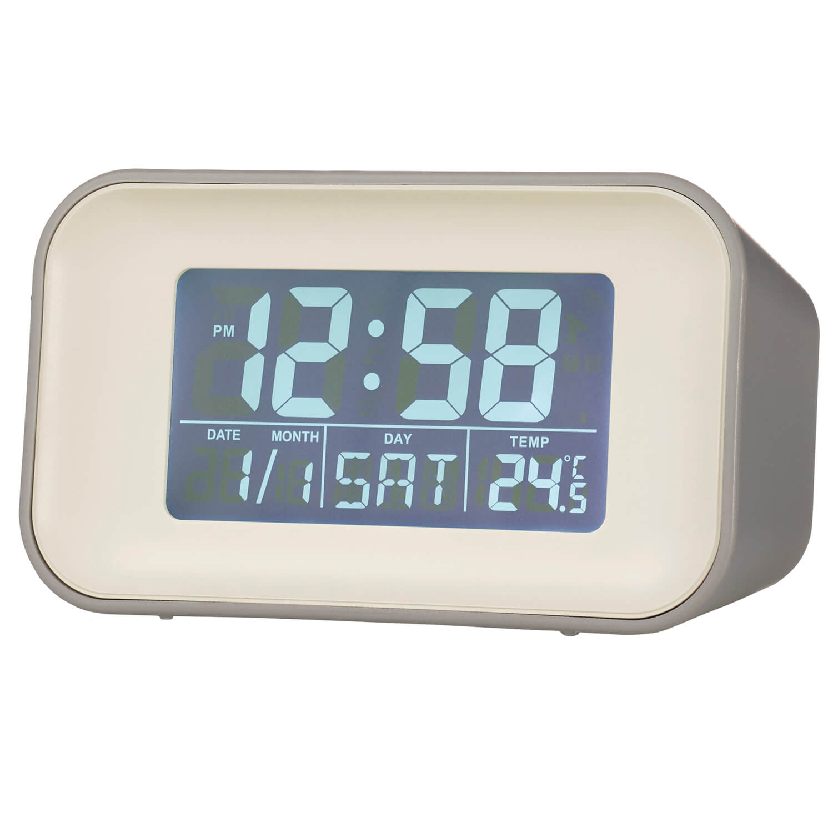 Image of Acctim Alta Reflection Alarm Clock, Grey