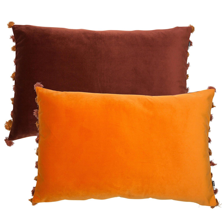 Image of Malini Double Sided Velvet Fringed Cushion, 40 x 60cm, Wine/Rust