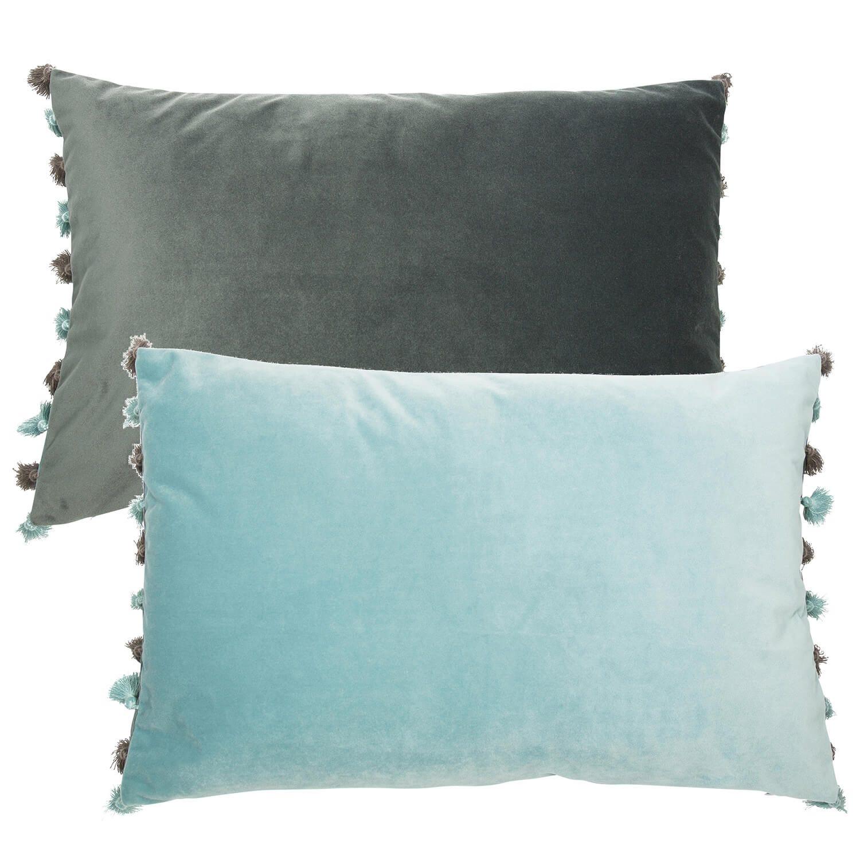 Image of Malini Double Sided Velvet Fringed Cushion, 40 x 60cm, Seafoam