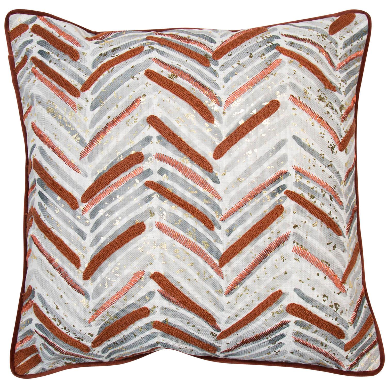 Image of Malini Chevron Printed Cushion, 45 x 45cm, Rust