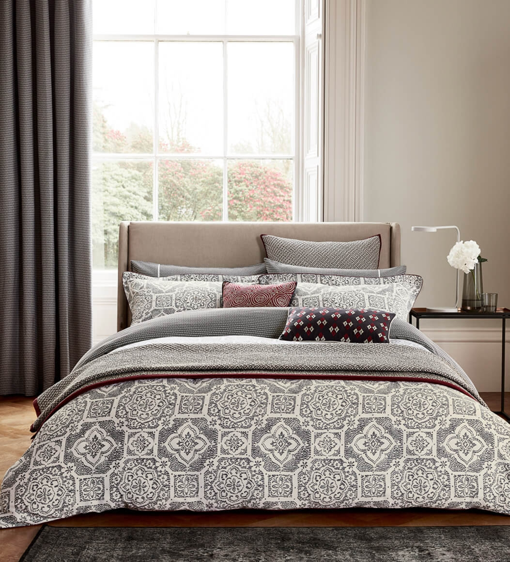 Image of Bedeck Amaya Duvet Cover, Superking, Charcoal