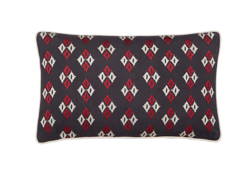 Image of Bedeck Amaya Cushion 50x30cm, Charcoal