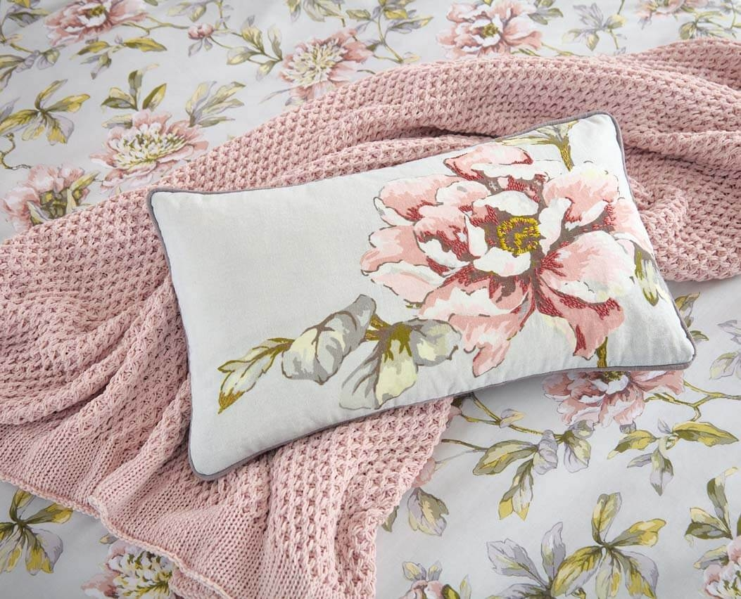 Image of Bedeck V&A Peony Blossom Cushion 50x30cm, Silver
