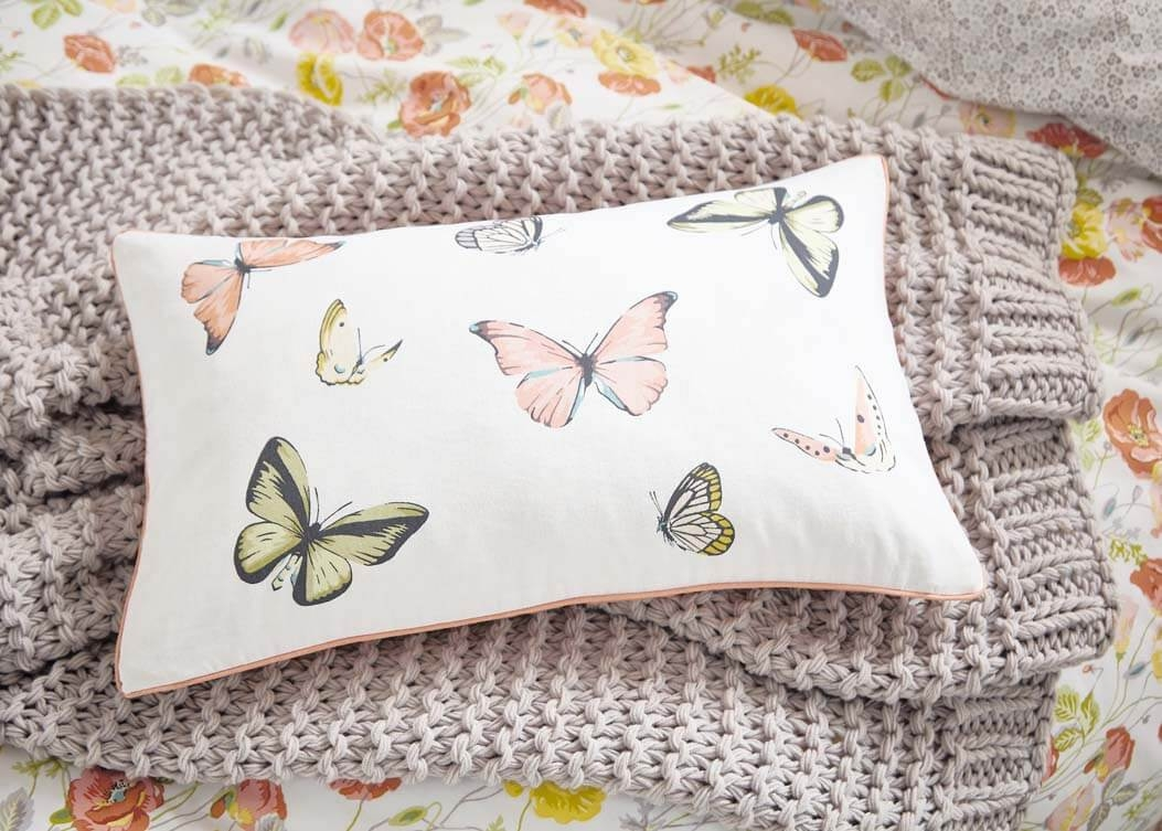 Image of Bedeck V&A Poppy Garden Butterfly Cushion 50x30cm, Coral