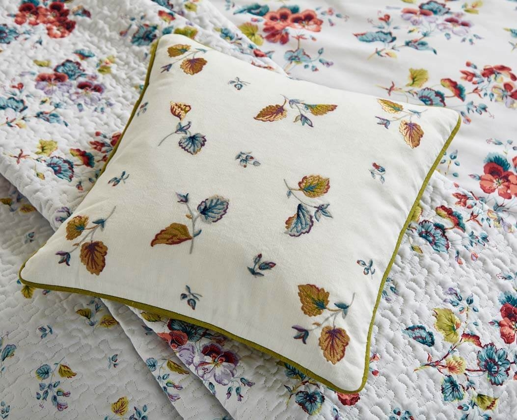Image of Bedeck V&A Sweet Geranium Cushion, Chartreuse