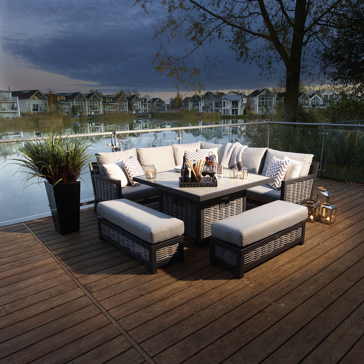 Image of Bramblecrest Portofino Modular Sofa & Firepit Table Set