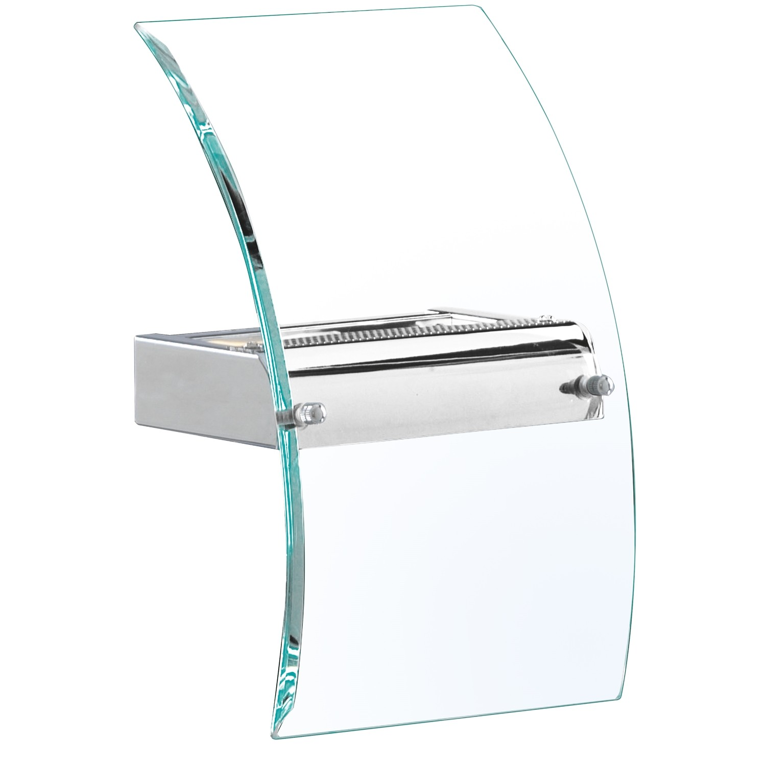 Square curved glass wall light chrome leekes for Curved glass wall