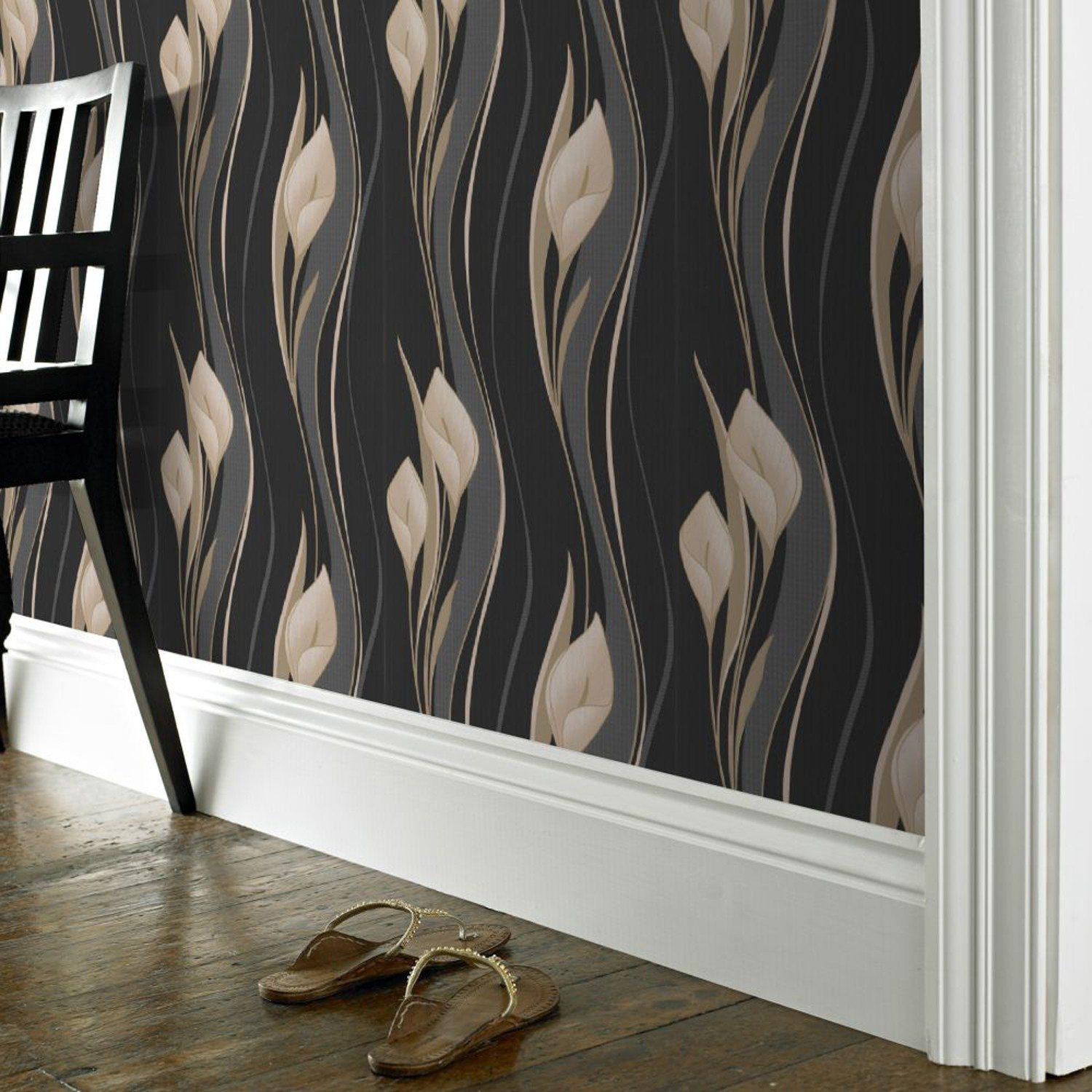 Peace wallpaper leekes for Black and cream wallpaper
