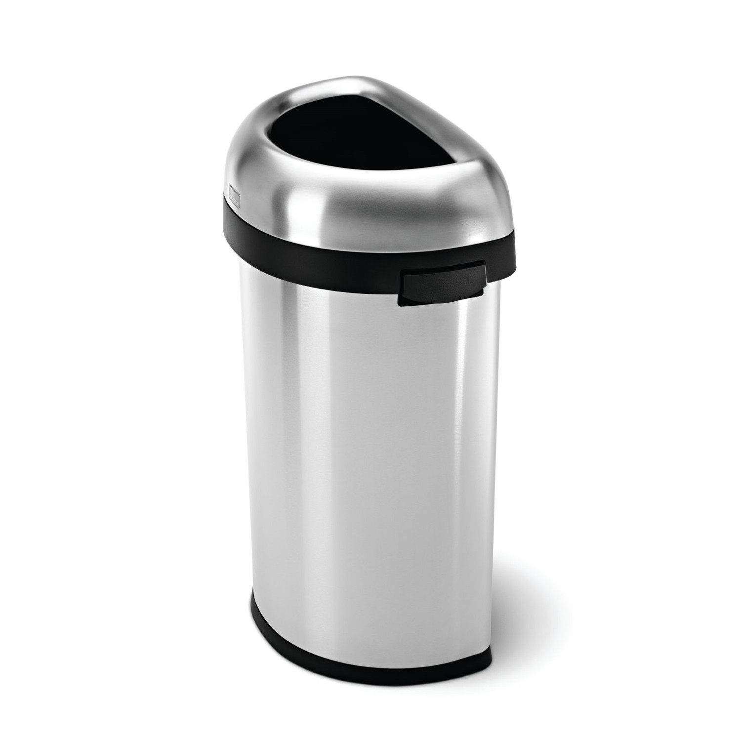 Simplehuman Semi Round Open Bin 60l Brushed Stainless Stee