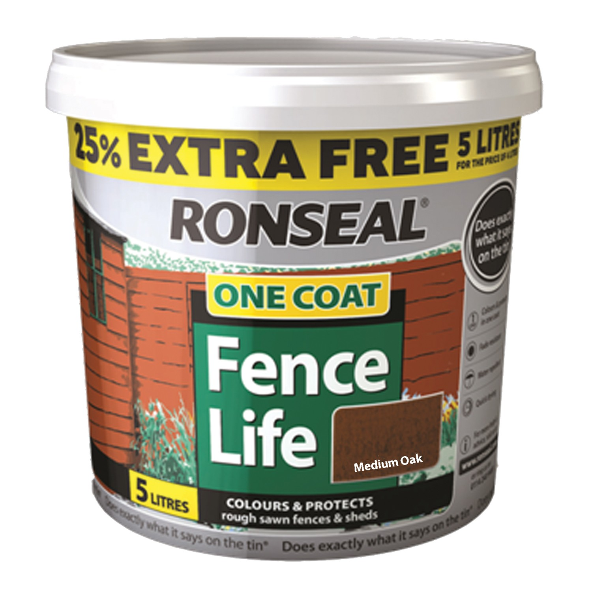 Ronseal 5L One Coat Fencelife, Medium Oak