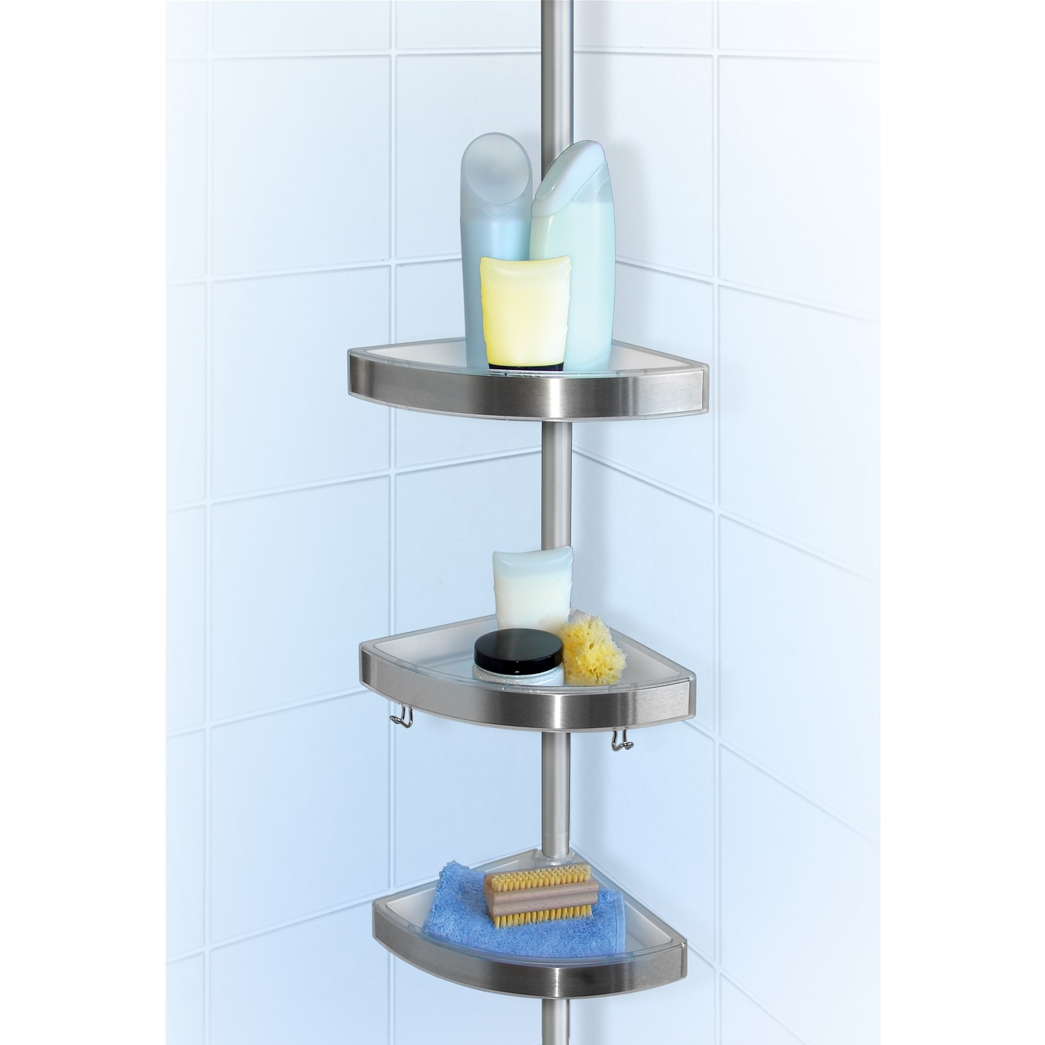 Tension shower caddy bathroom caddy shower extendable for Bathroom utensils