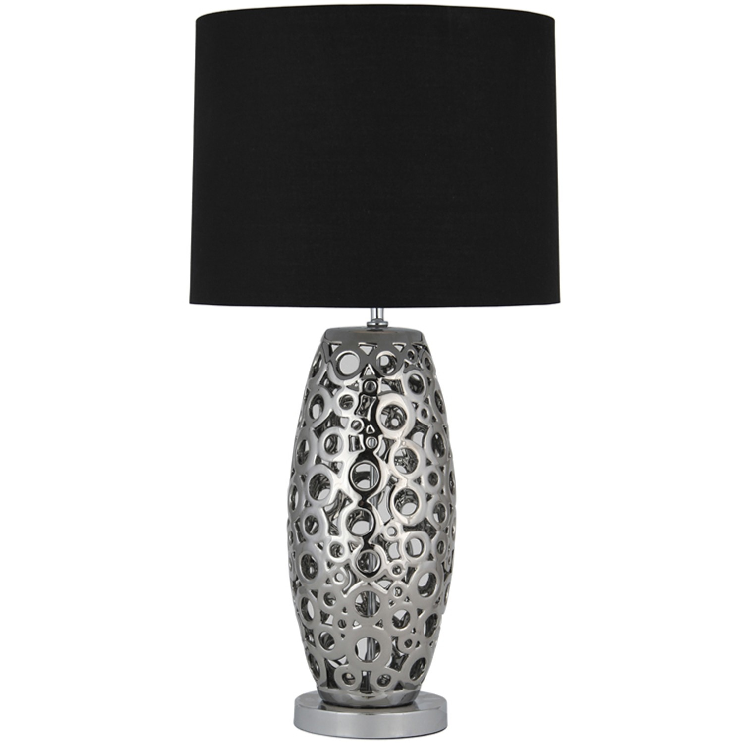 aimbry laser cut table lamp large silver and black leekes. Black Bedroom Furniture Sets. Home Design Ideas