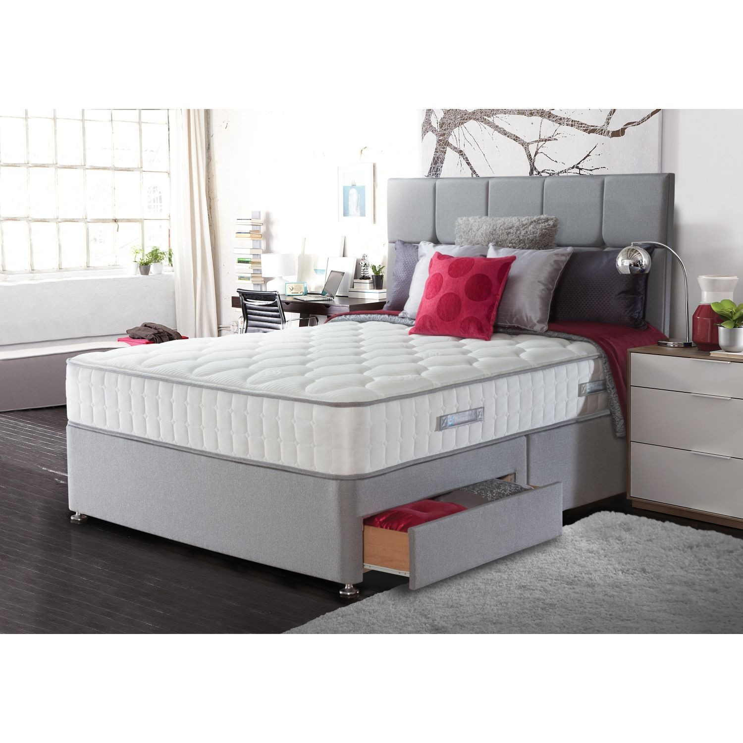Sealy chloe 4 drawer divan set double leekes for Double divan with 4 drawers