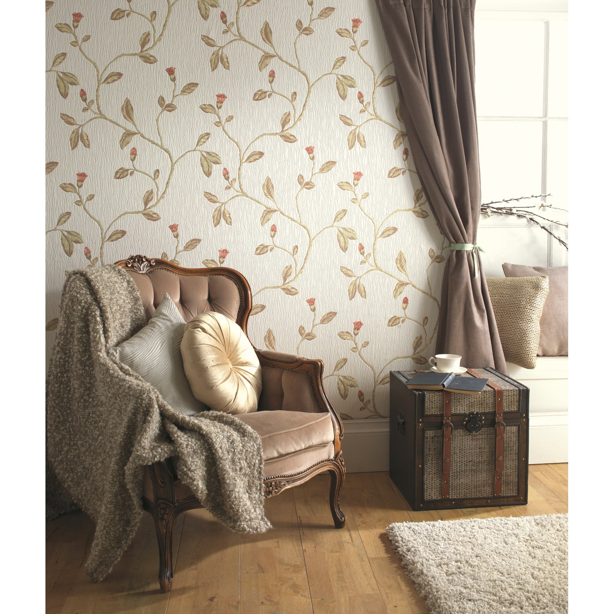 Holden decor opus lia red cotton leekes for Opus wallpaper range