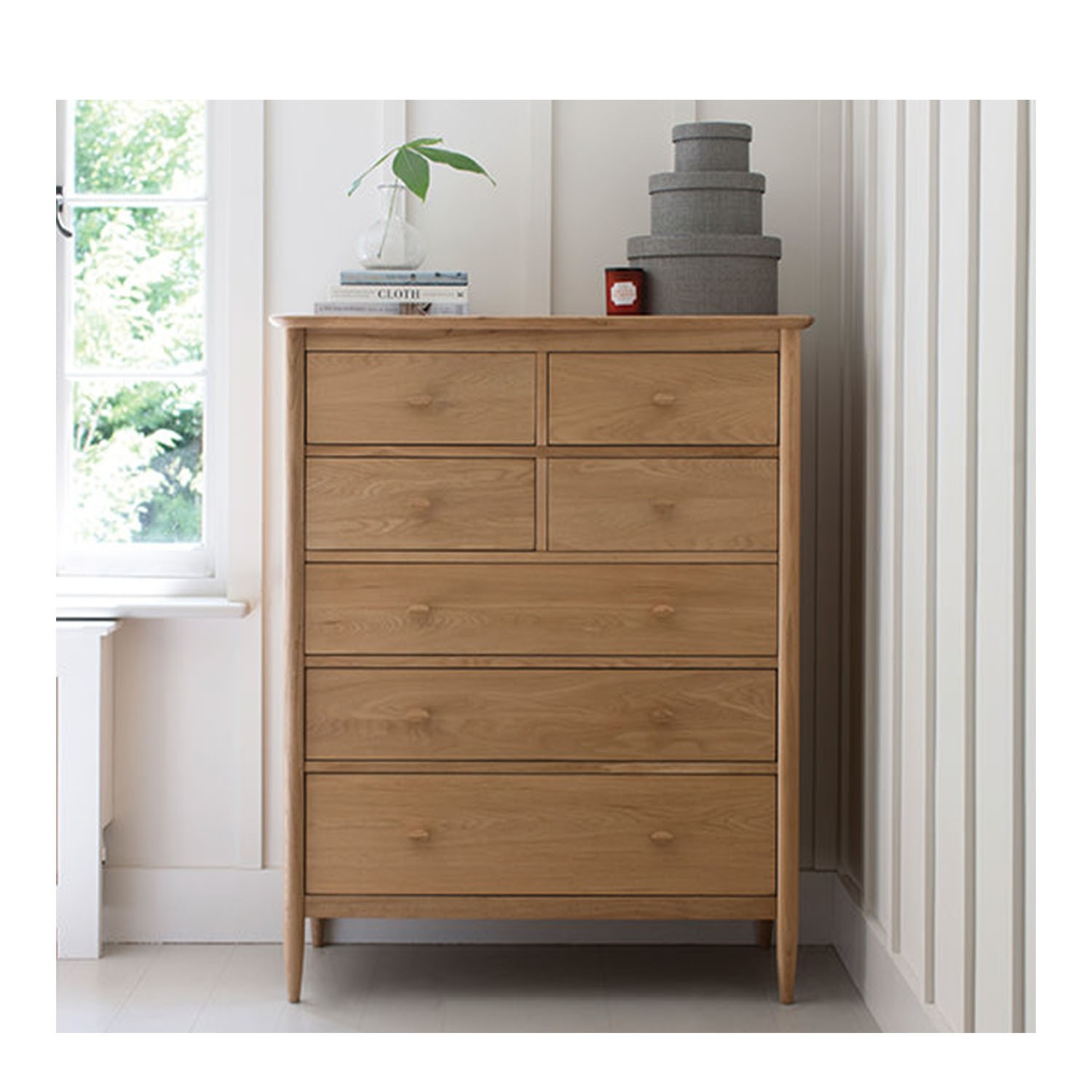 ercol teramo 7 drawer tall wide chest of drawers leekes. Black Bedroom Furniture Sets. Home Design Ideas