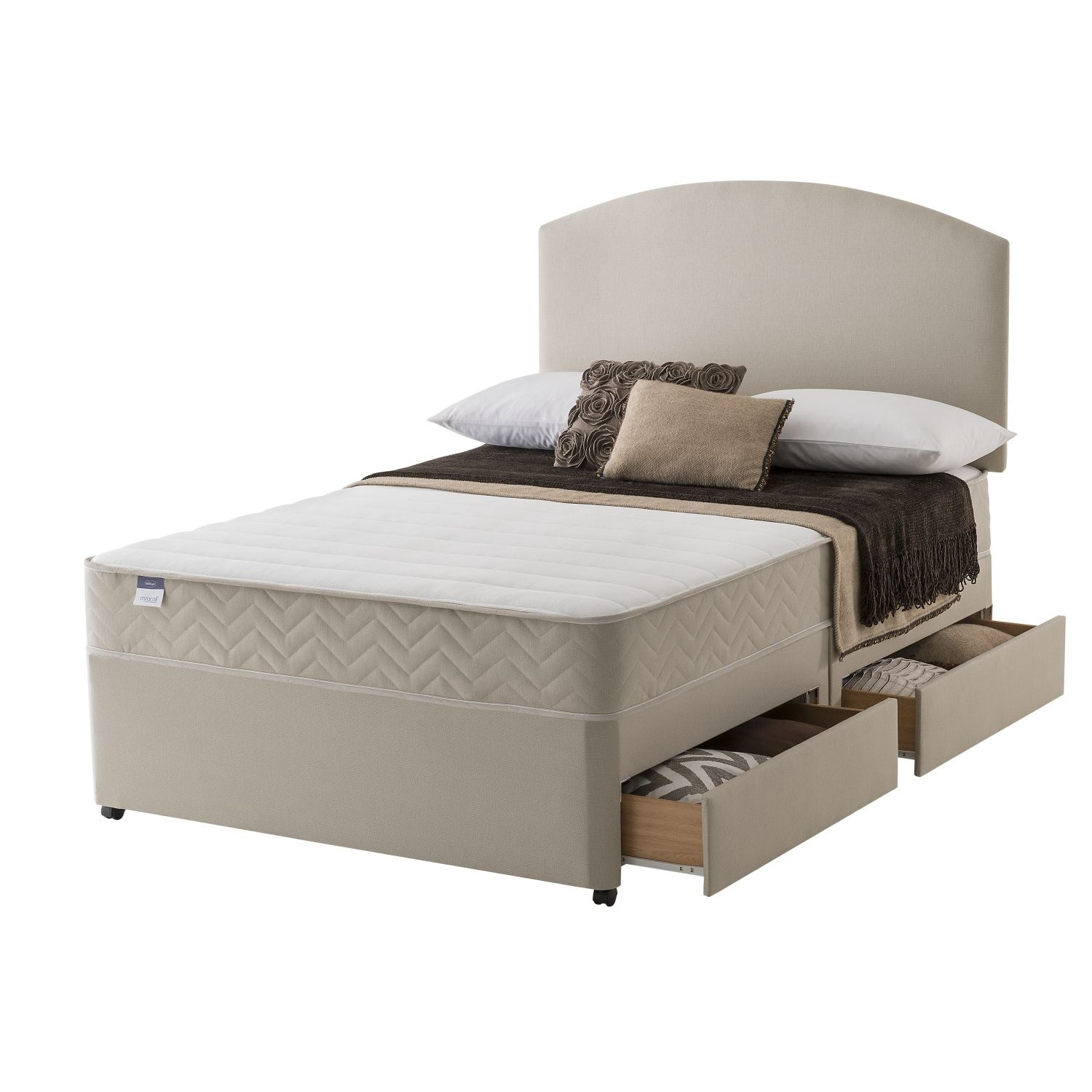 Silentnight vienna platform top 4 drawer divan set small dou for Small double divan set