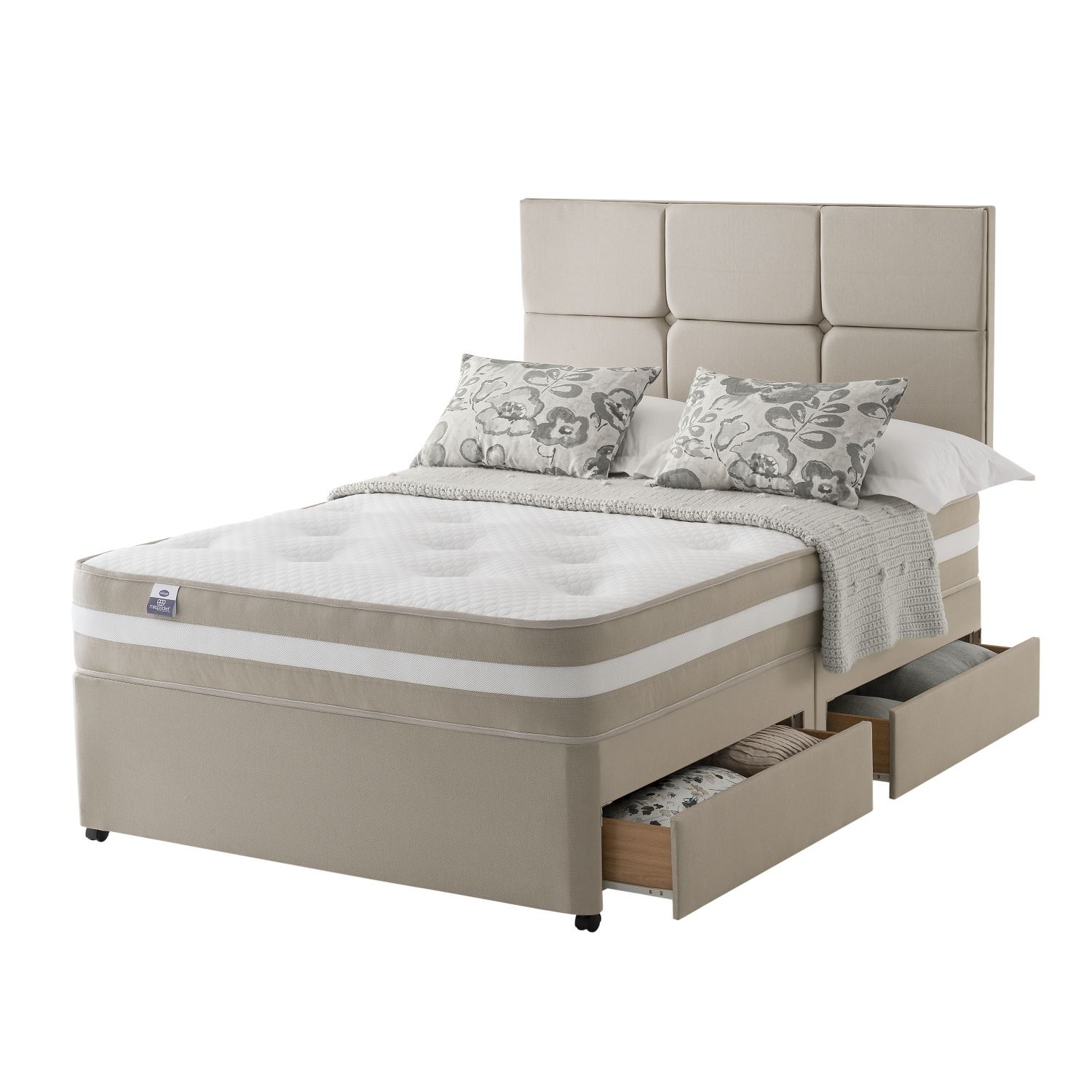 Silentnight georgia platform top 4 drawer divan set double for Silentnight divan