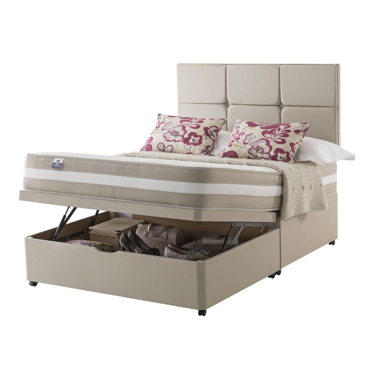 Silentnight naples platform top ottoman divan double leeke for Silentnight divan