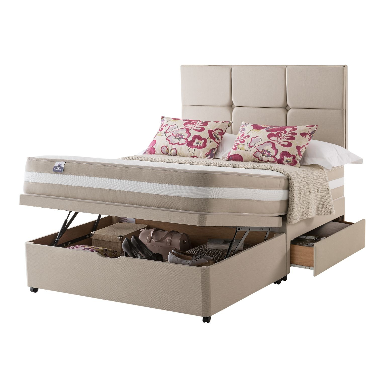 Silentnight naples platform top 2 drawer ottoman divan set d for Divan drawers
