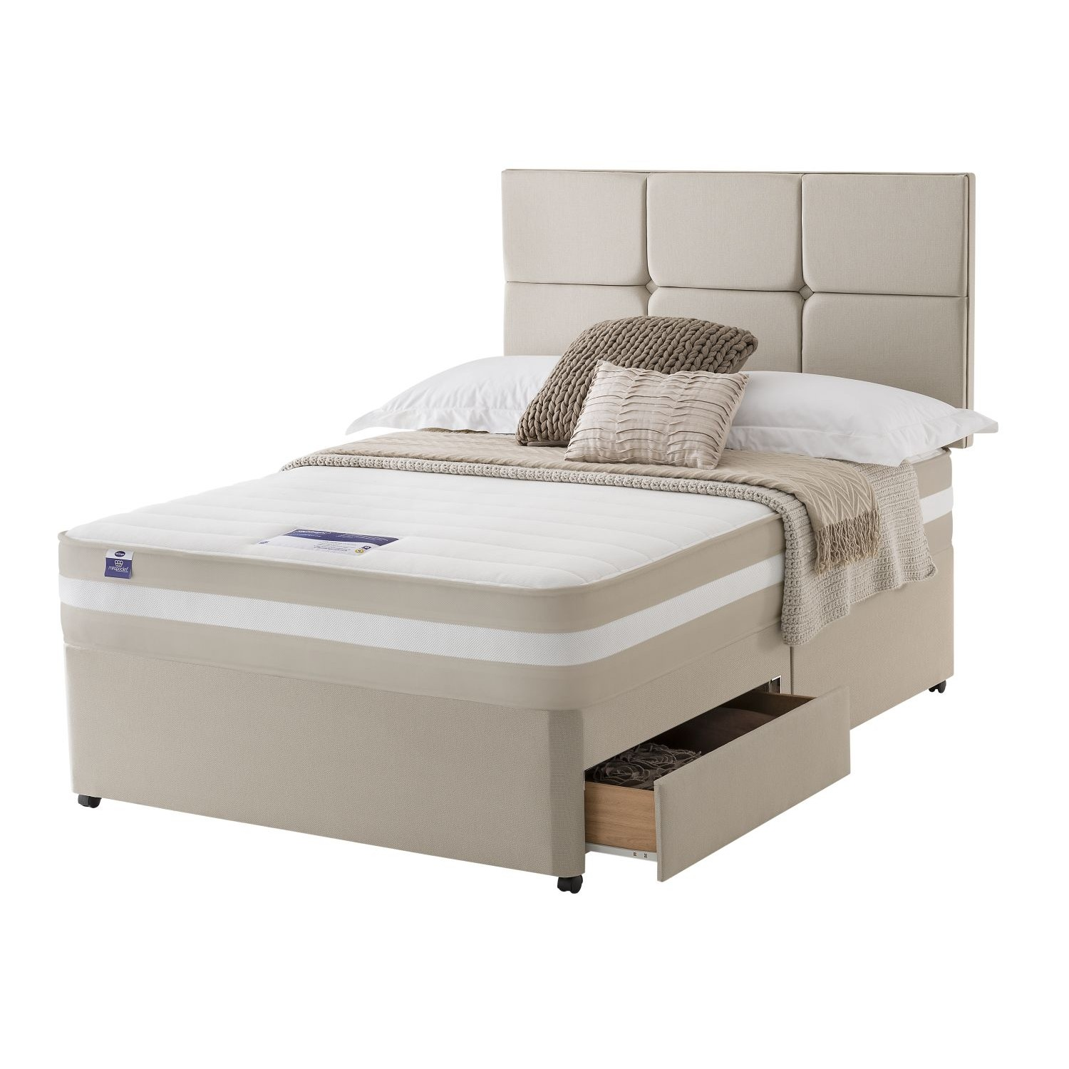 Silentnight bari platform top 2 drawer divan set double le for Silentnight divan