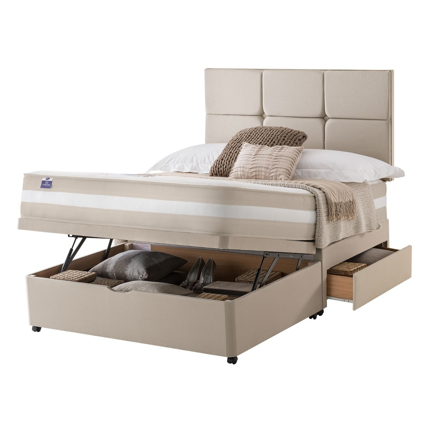 Silentnight bari platform top 2 continental drawer ottoman d for Cheap double divan with drawers