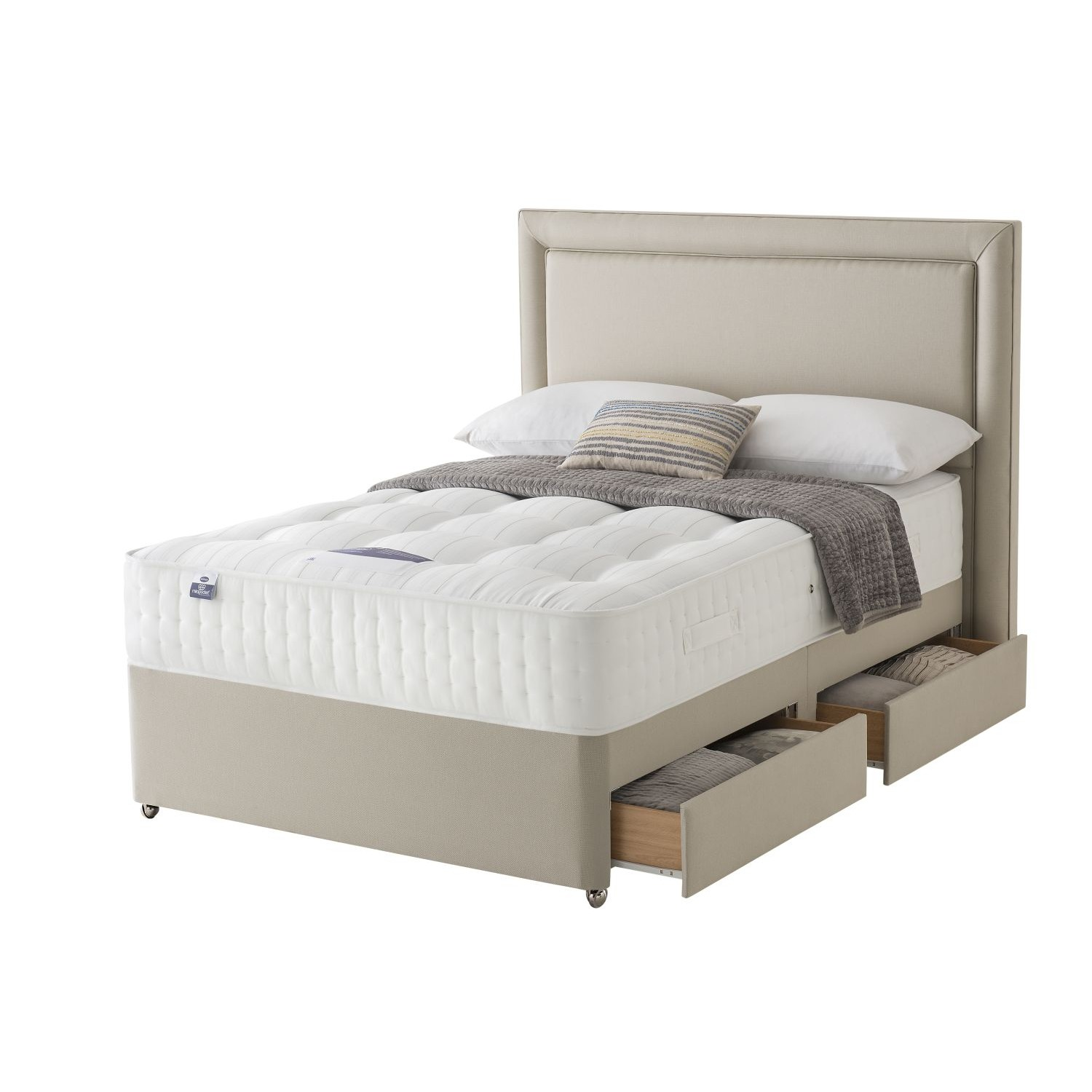 Silentnight shipley platform top 4 drawer divan set double for Silentnight divan