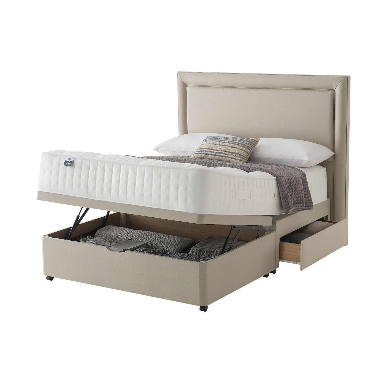 Silentnight shipley platform top 2 drawer ottoman divan set for Divan drawers