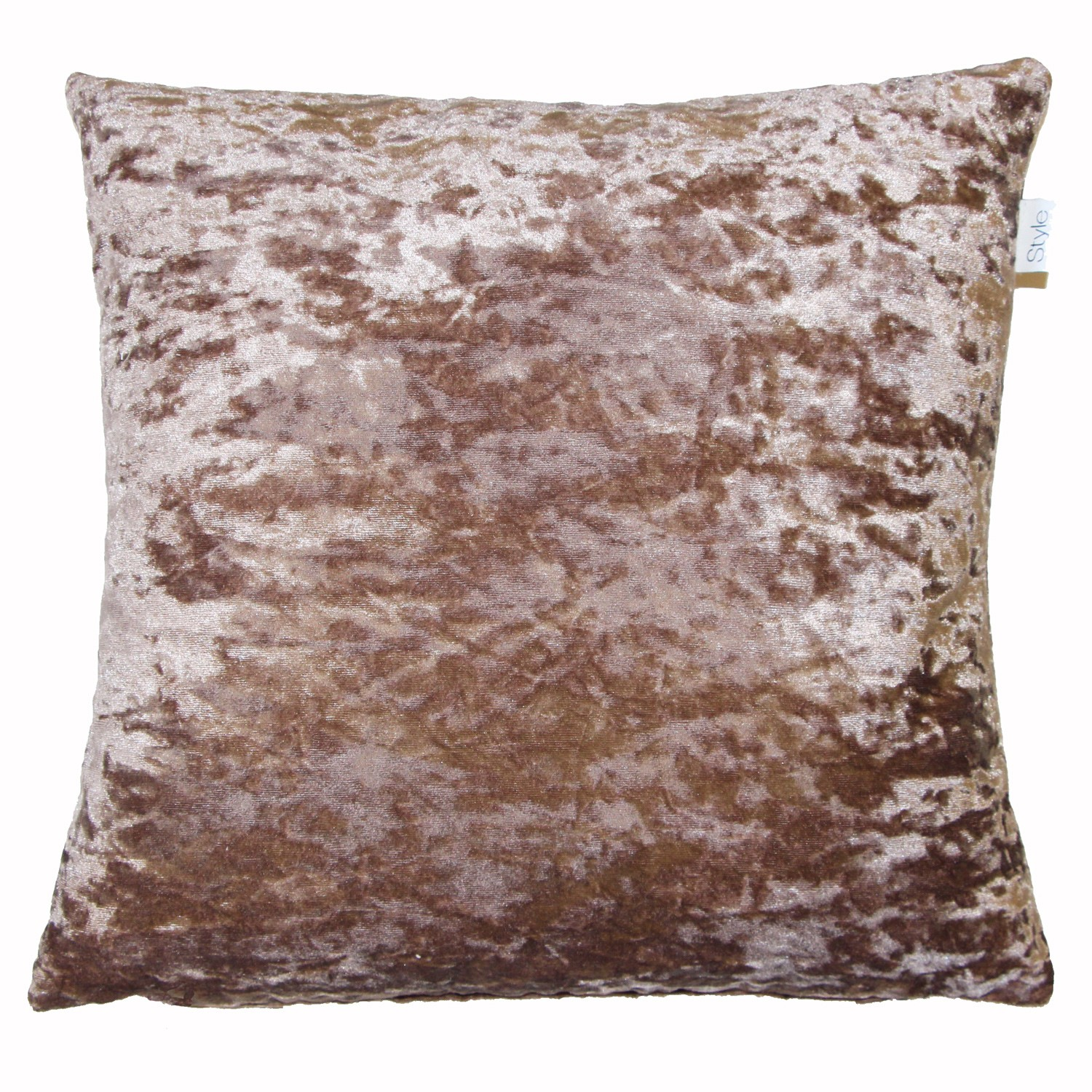 Crushed Velvet Lustre Feather Filled Cushion Champagne Le