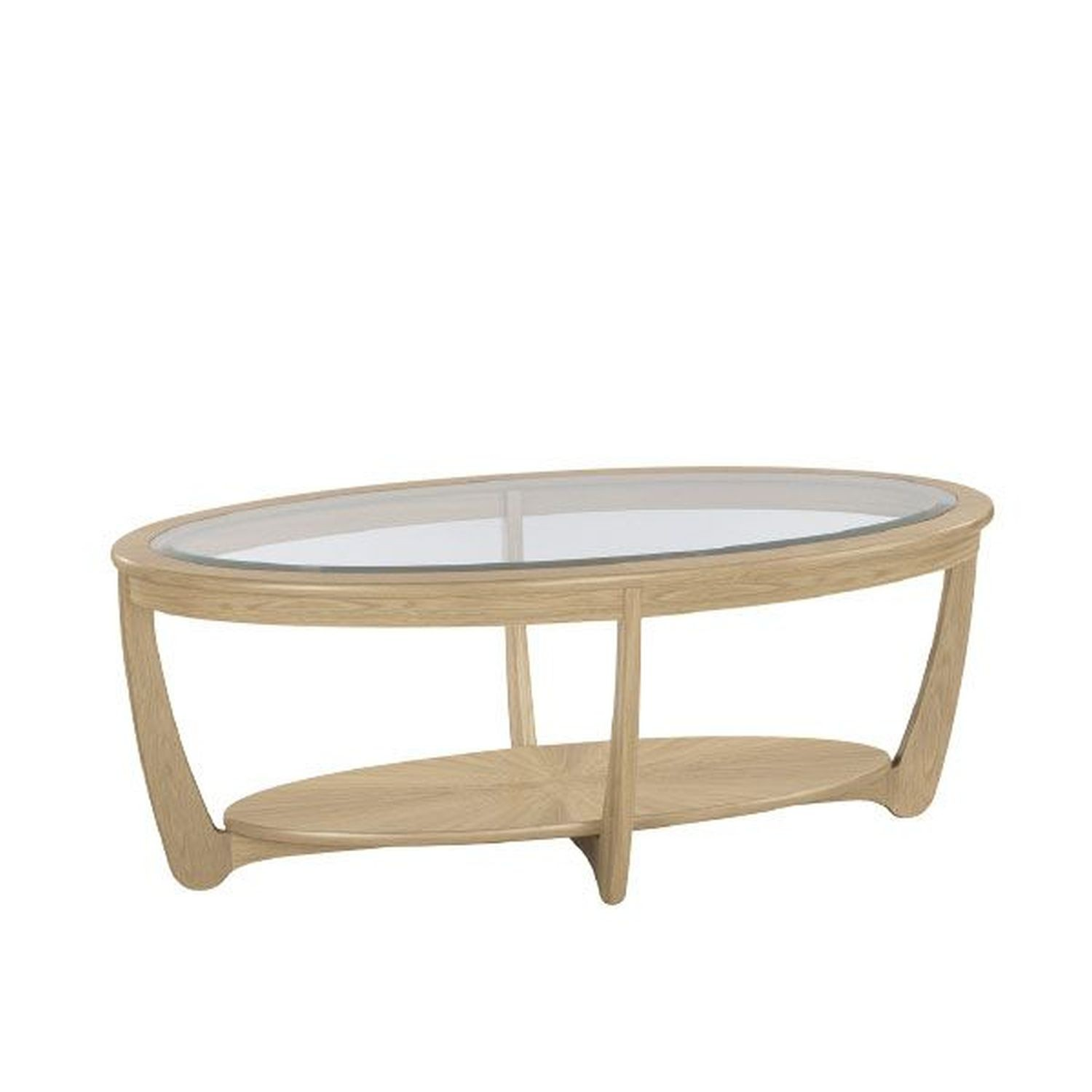 - Nathan Shades Oak Oval Glass Top Coffee Table Leekes