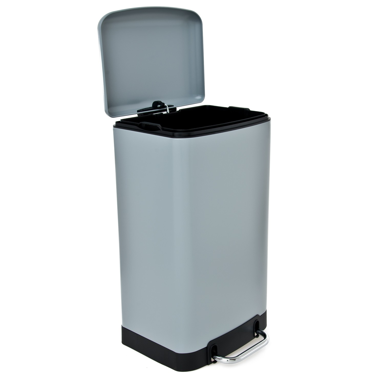 Casa 30l Rectangular Soft Close Bin, Grey | Leekes