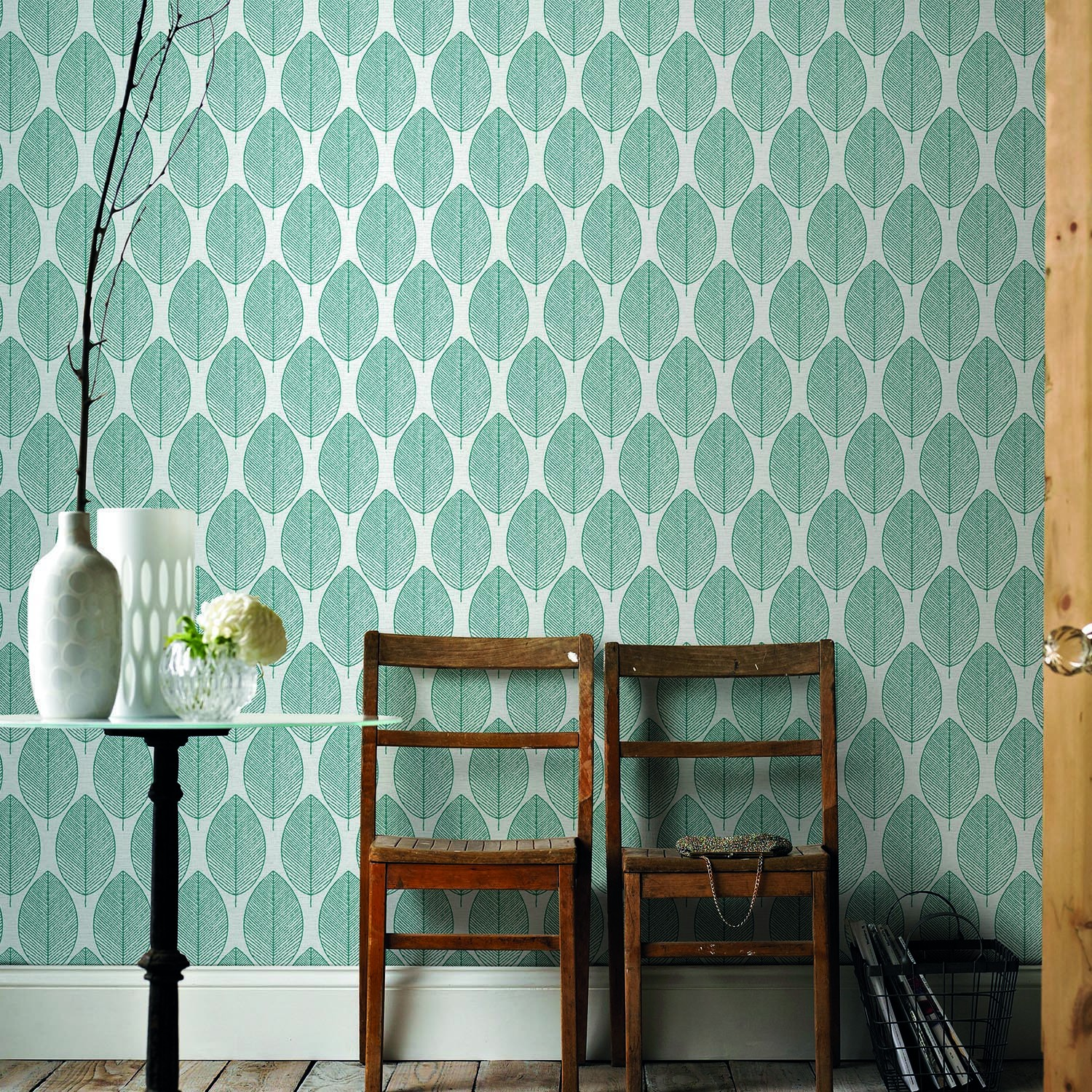 Graham And Brown Retro Leaf, White/ Teal | Leekes