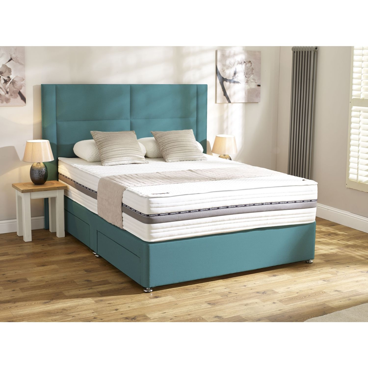 Mammoth performance pocket 2000 king 4 drawer divan leekes for Cheap double divan with drawers