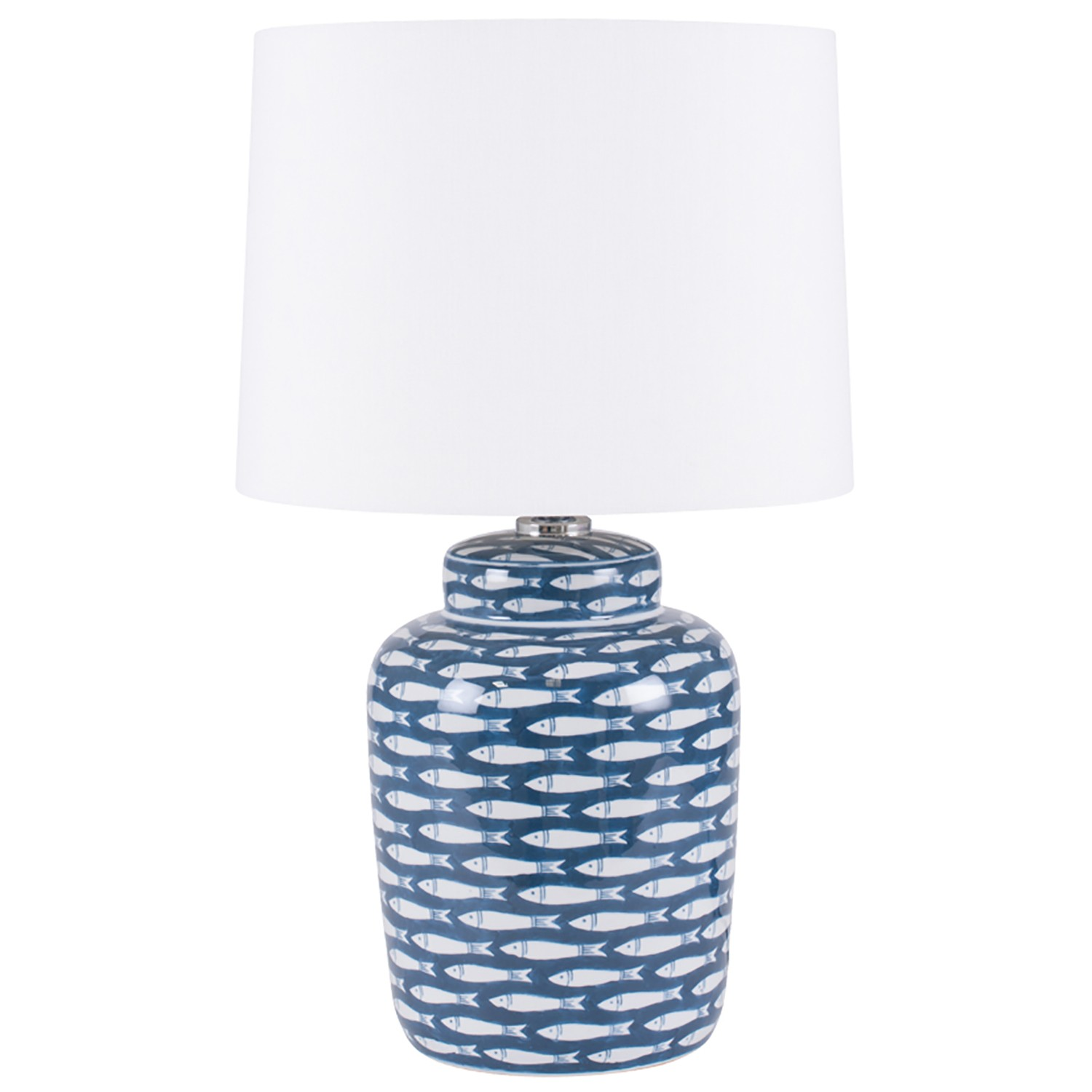 Aimbry Fish Cermaic Table Lamp Blue Amp White Leekes