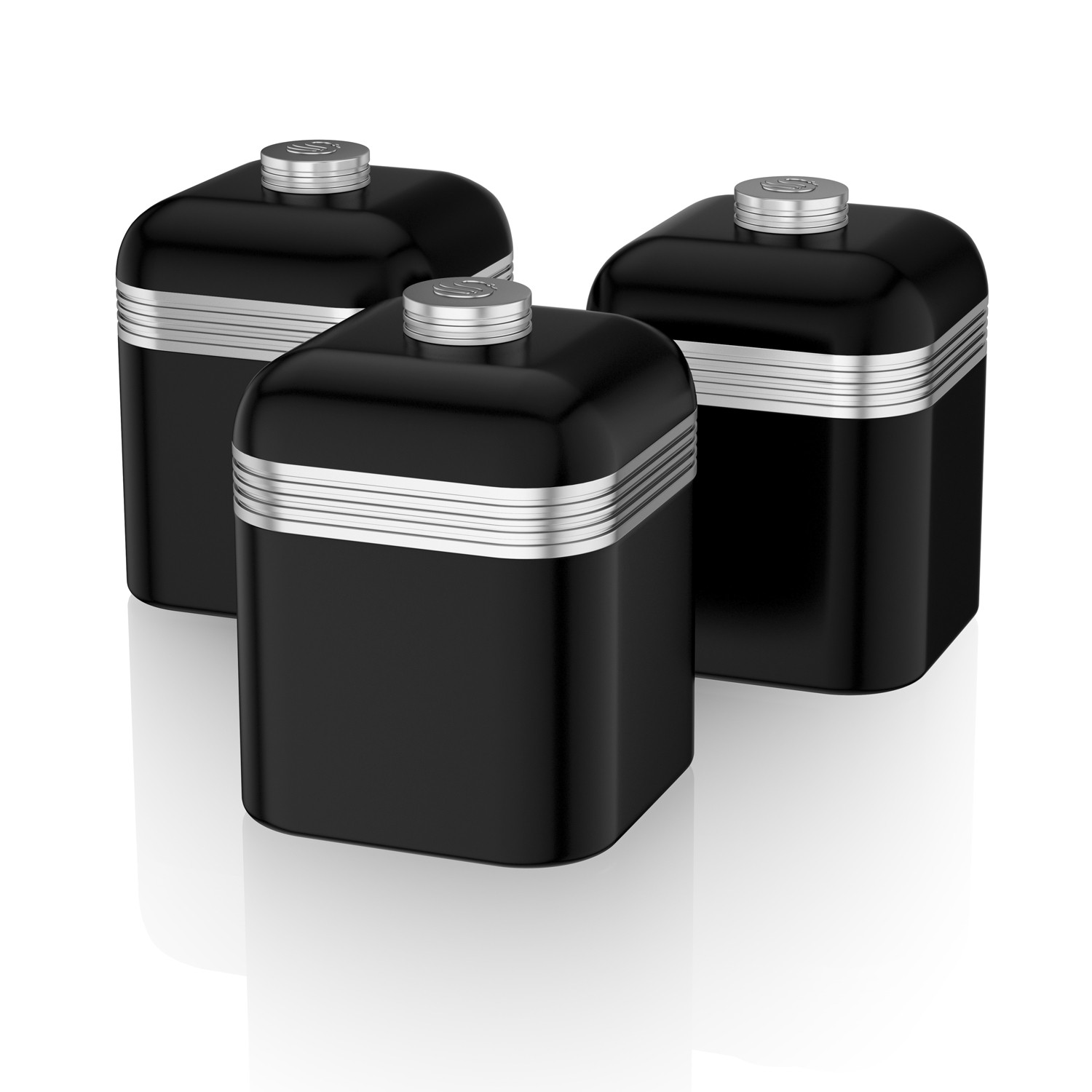 Swan Retro Set Of 3 Canisters Black Leekes