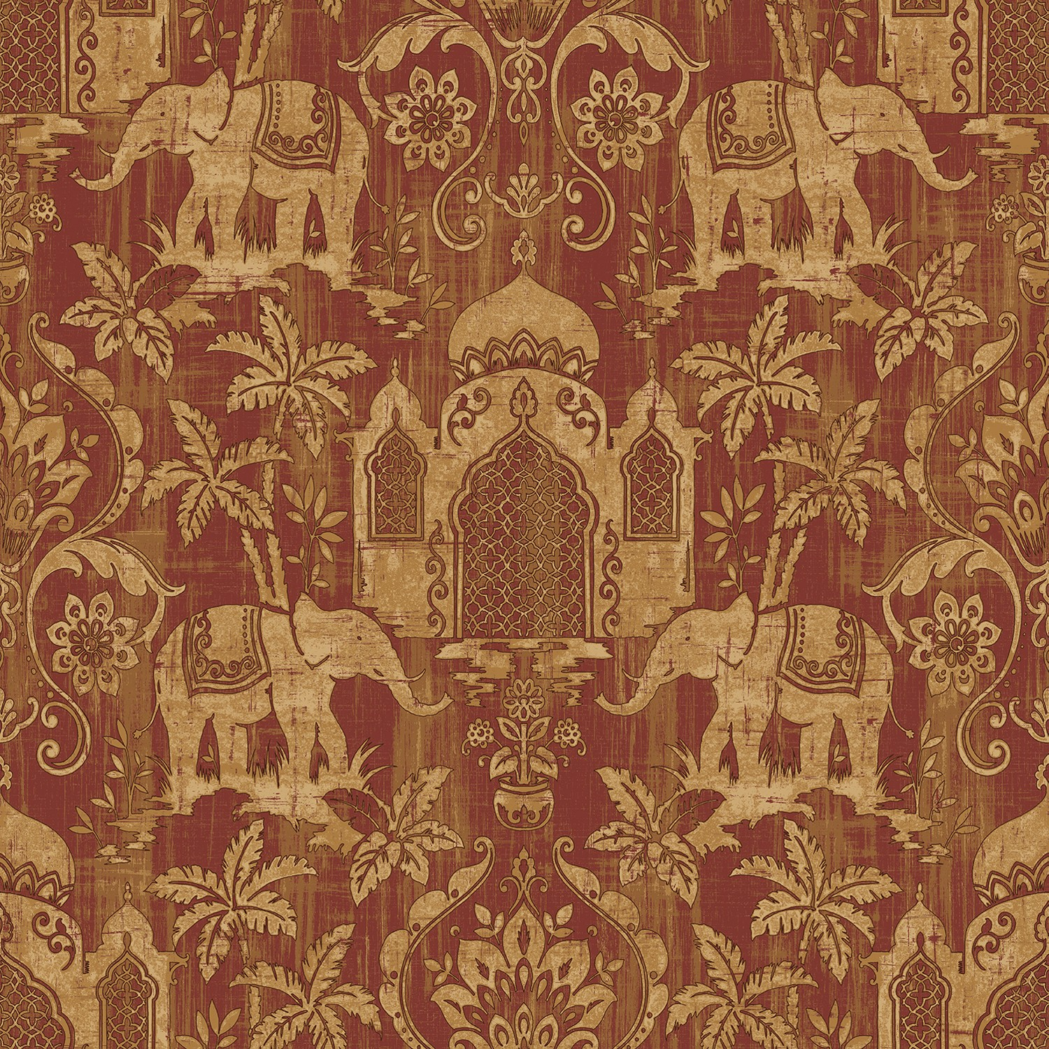 Galerie Exotic Elephants Wallpaper Red