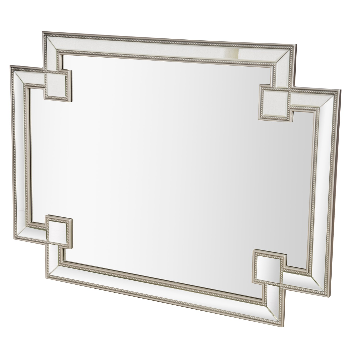 Casa Art Deco Wall Mirror, Silver | Leekes