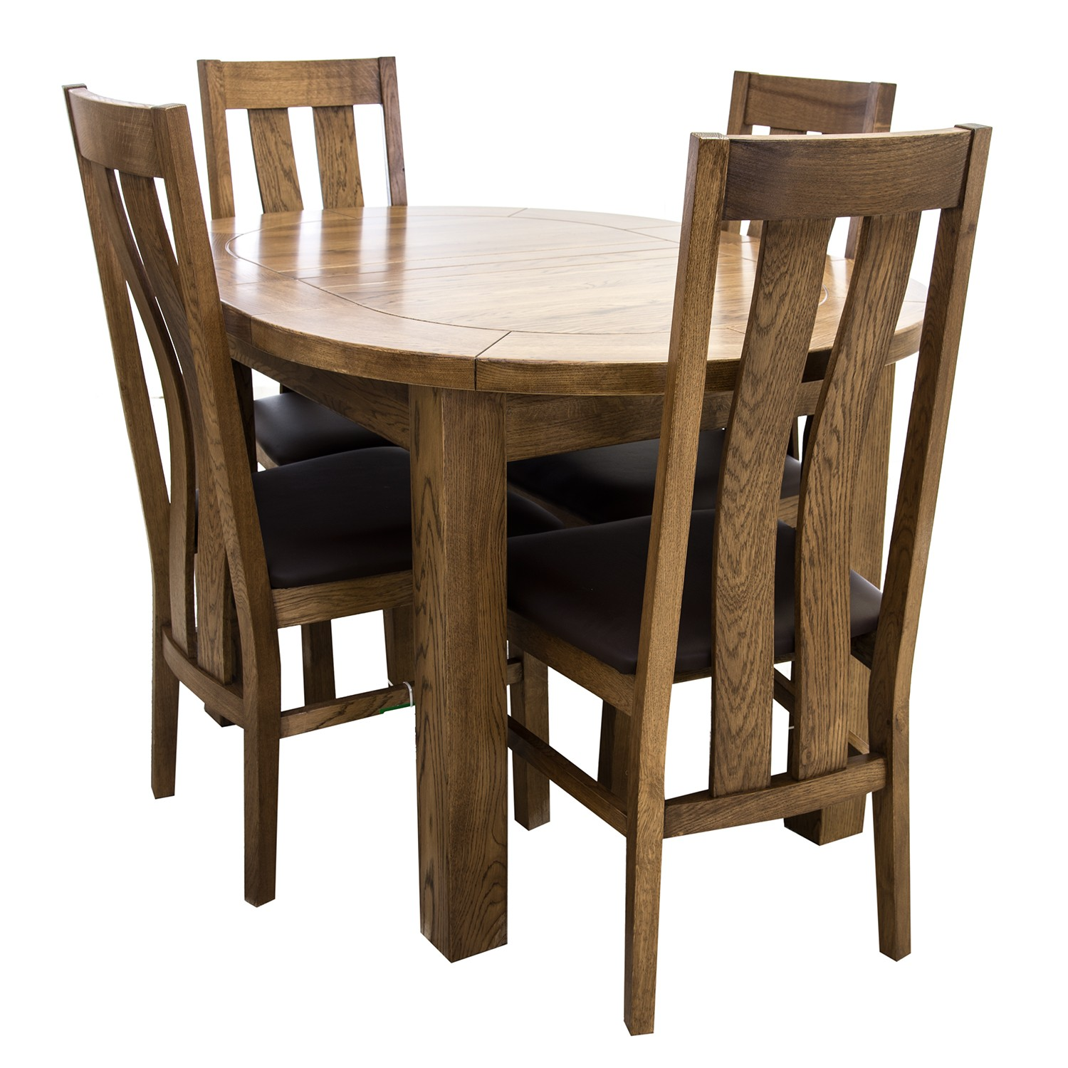 Casa Bordeaux Small D-End Table & 4 Chairs Dining Set | Leek