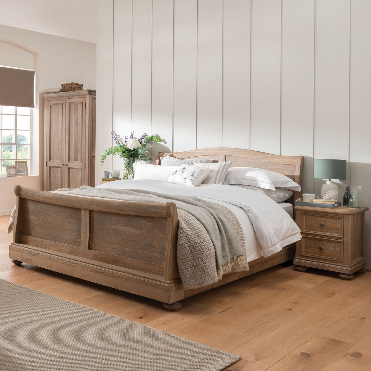 - Casa Hunter Sleigh Bed Frame, Double Leekes