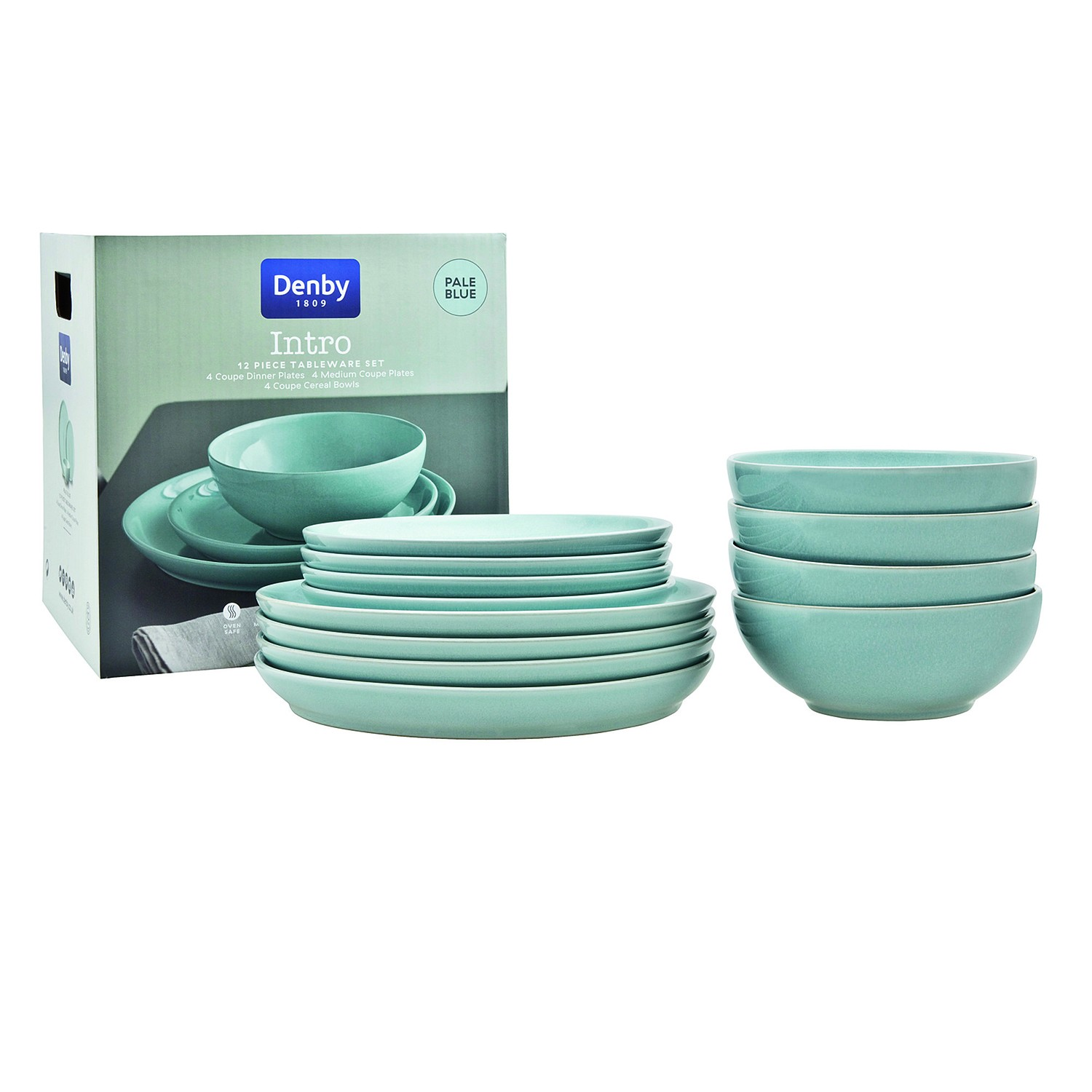 denby intro 12 piece tableware set blue leekes