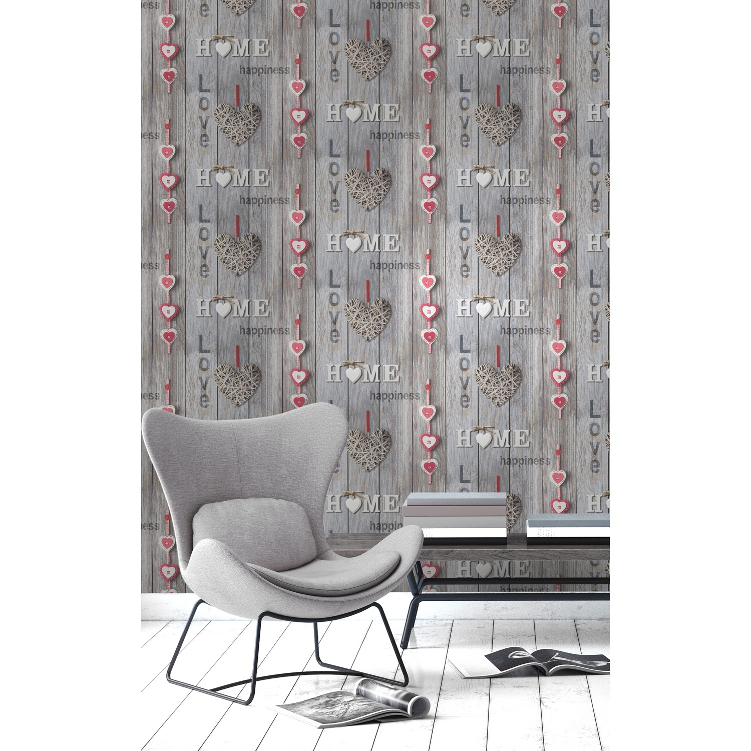 Fine Decor Love Your Home Red Brown Wallpaper Leekes