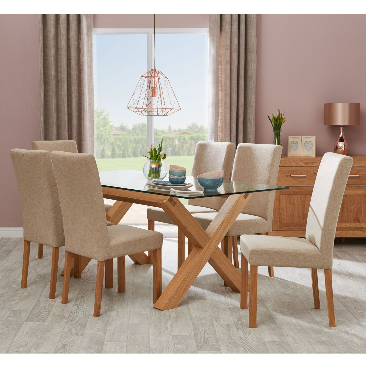 Glass Table Dining Set: Casa Toledo Glass Table & 6 Upholstered Chairs Dining Set
