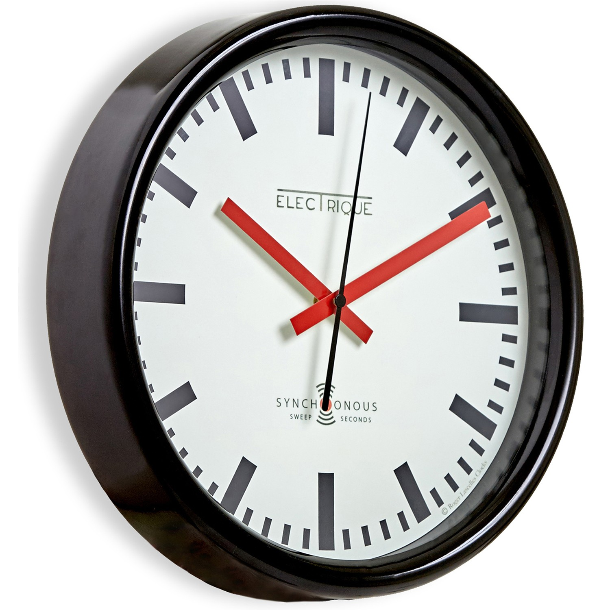 Brookpace Lascelles Swiss Station Wall Clock Black Leekes