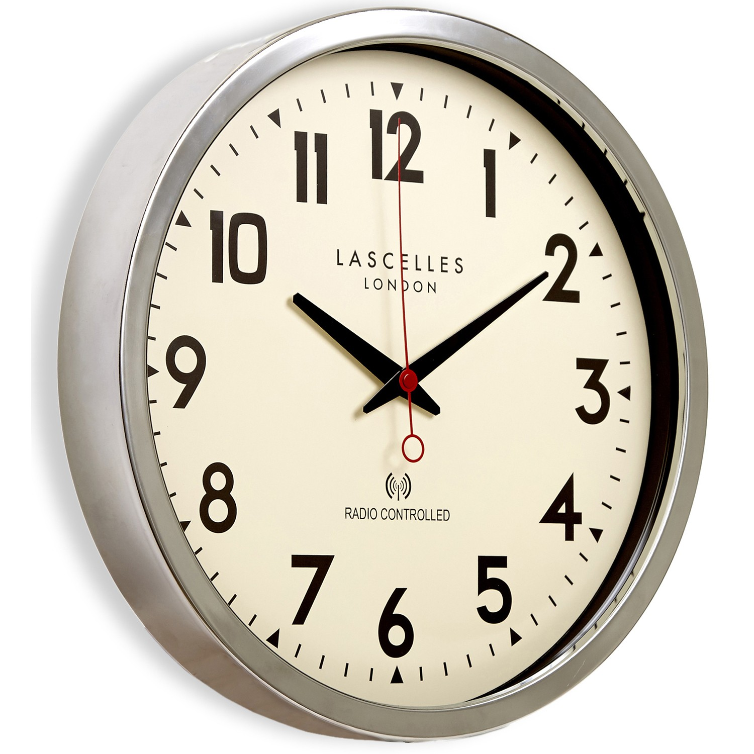 Brookpace Lascelles Radio Controlled Wall Clock Chrome Le