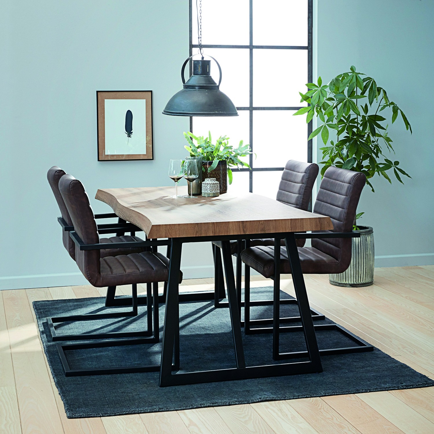 Casa Melbourne Table & 4 Chairs Dining Set | Leekes