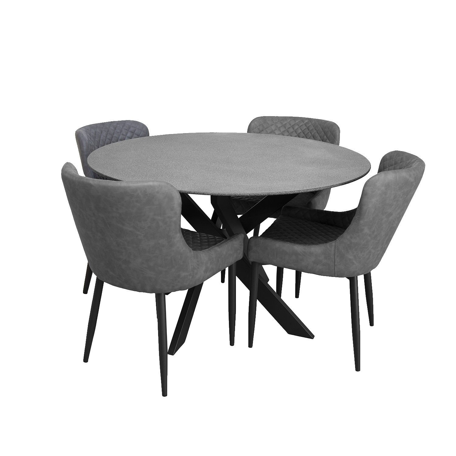 York Round Dining Set with 4 Chairs